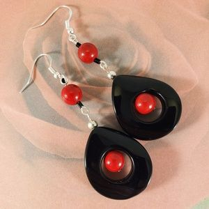 Black ONYX and Red CORAL Earrings sterling silver